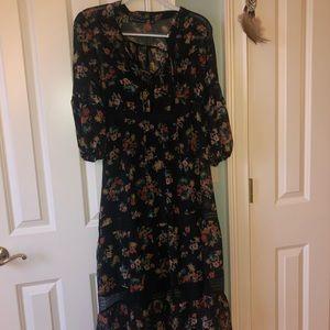 Long floral black dress